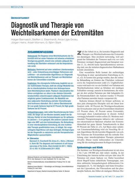 Diagnostik und Therapie von Weichteilsarkomen der Extremitäten