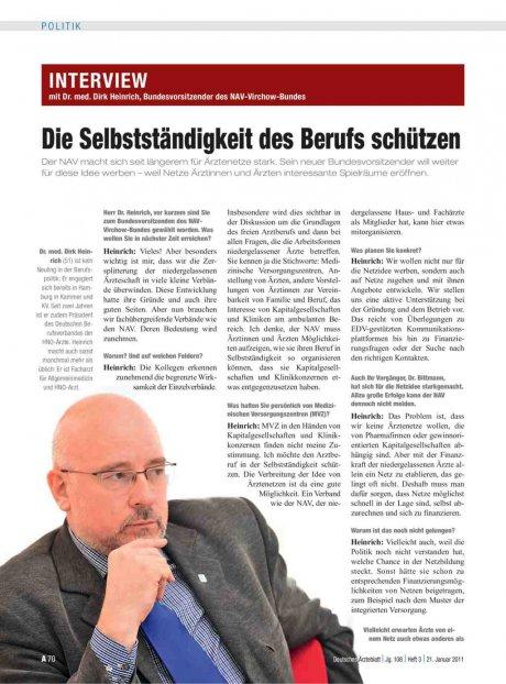 Interview mit Dr. med. Dirk Heinrich, Bundesvorsitzender des NAV-Virchow-Bundes: Die Selbstständigkeit des Berufs schützen