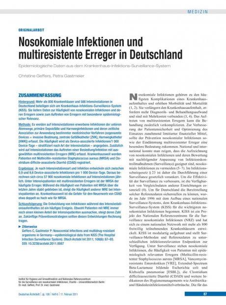 Nosokomiale Infektionen und multiresistente Erreger in Deutschland