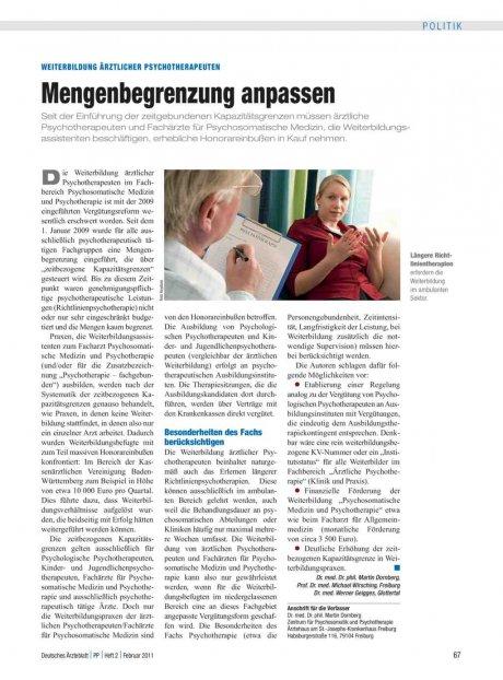 Weiterbildung ärztlicher Psychotherapeuten: Mengenbegrenzung anpassen