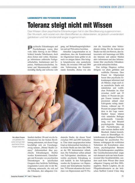 Laienkonzepte von psychischen Erkrankungen: Toleranz steigt nicht mit Wissen