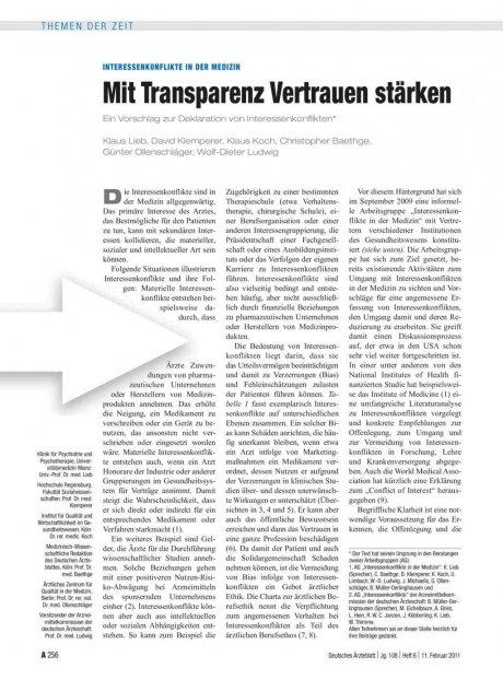Interessenkonflikte in der Medizin: Mit Transparenz Vertrauen stärken
