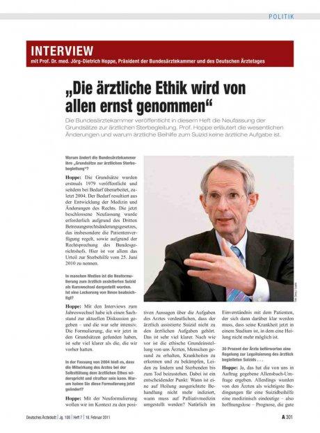 """Interview mit Prof. Dr. med. Jörg-Dietrich Hoppe, Präsident der Bundesärztekammer und des Deutschen Ärztetages: """"Die ärztliche Ethik wird von allen ernst genommen"""""""