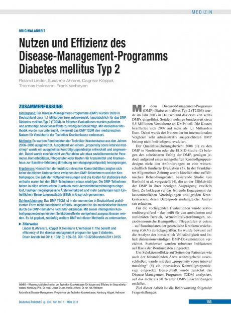 Nutzen und Effizienz des Disease-Management-Programms Diabetes mellitus Typ 2