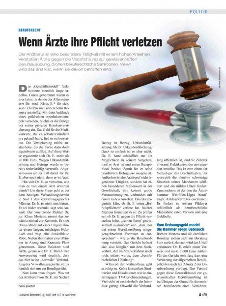 Berufsrecht: Wenn Ärzte ihre Pflicht verletzen