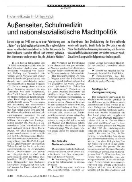 Naturheilkunde im Dritten Reich: Außenseiter, Schulmedizin und nationalsozialistische Machtpolitik