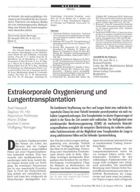 Extrakorporale Oxygenierung und Lungentransplantation