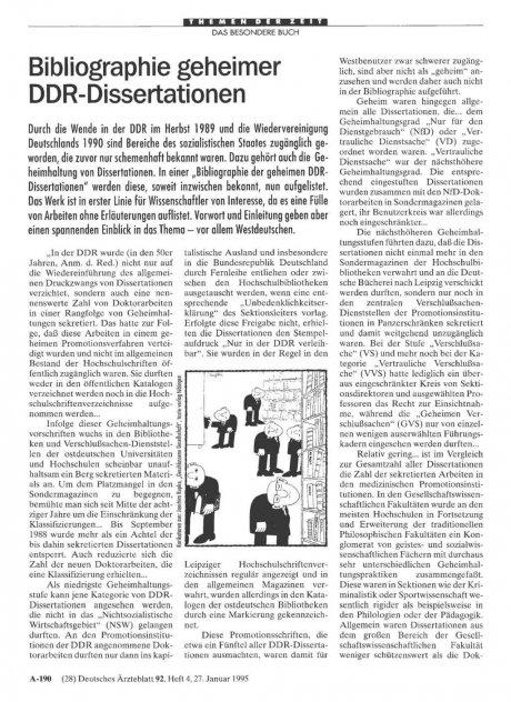 Bibliographie geheimer DDR-Dissertationen