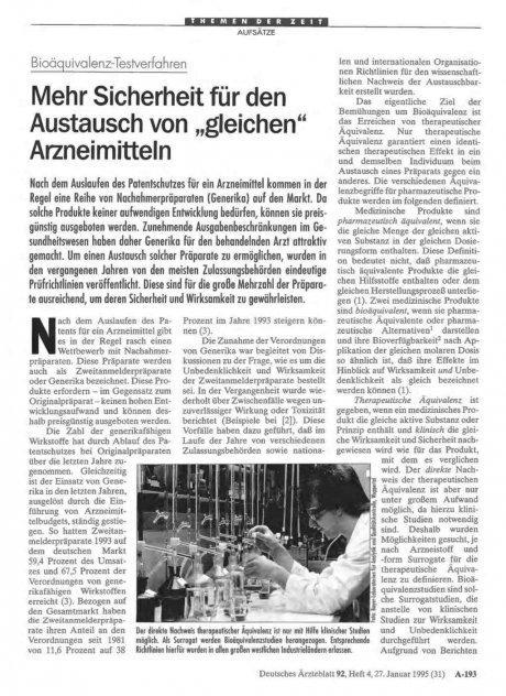 """Bioäquivalenz-Testverfahren: Mehr Sicherheit für den Austausch von """"gleichen"""" Arzneimitteln"""