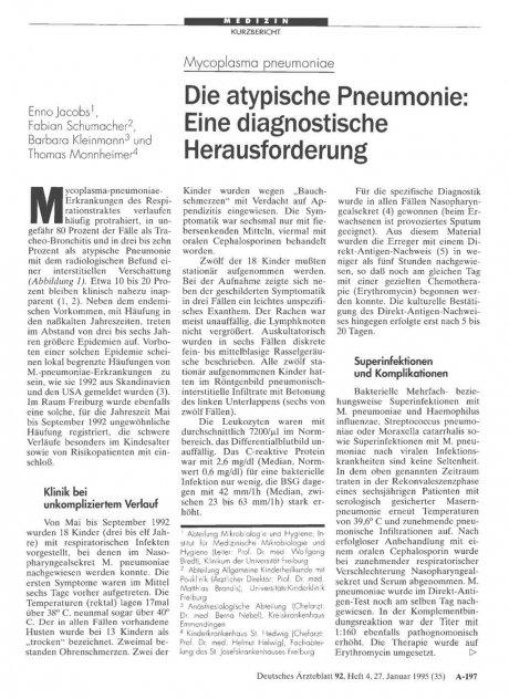 Mycoplasma pneumoniae: Die atypische Pneumonie: Eine diagnostische Herausforderung