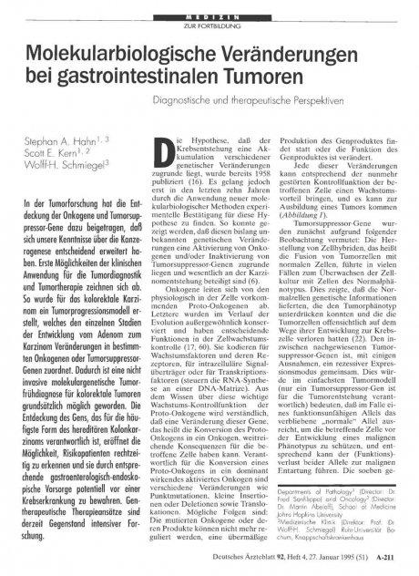Molekularbiologische Veränderungen bei gastrointestinalen Tumoren: Diagnostische und therapeutische Perspektiven