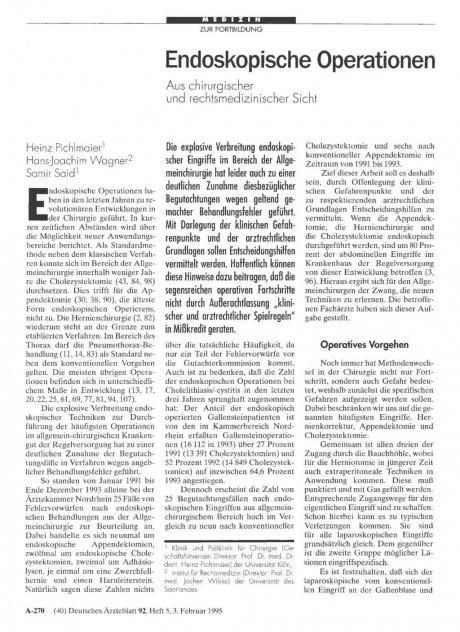 Endoskopische Operationen: Aus chirurgischer und rechtsmedizinischer Sicht