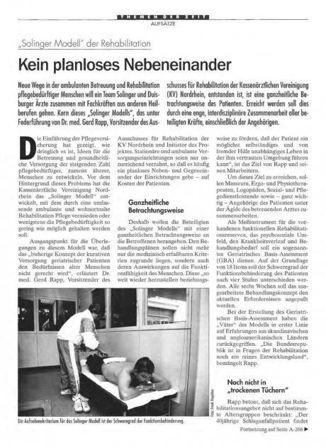 """Solinger Modell"": der Rehabilitation Kein planloses Nebeneinander"