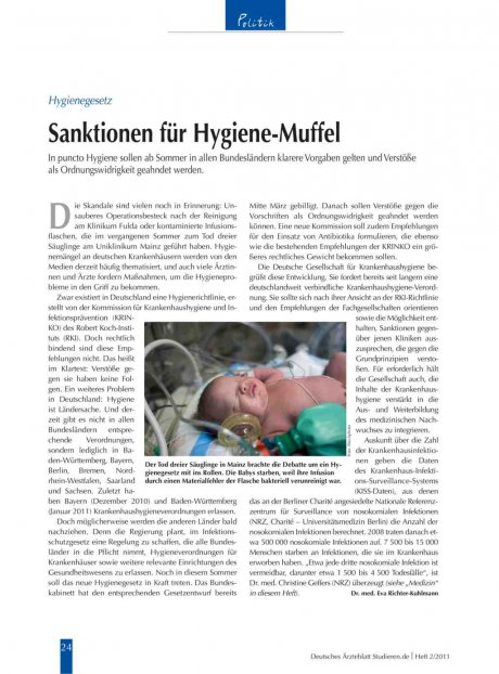 Hygienegesetz: Sanktionen für Hygiene-Muffel