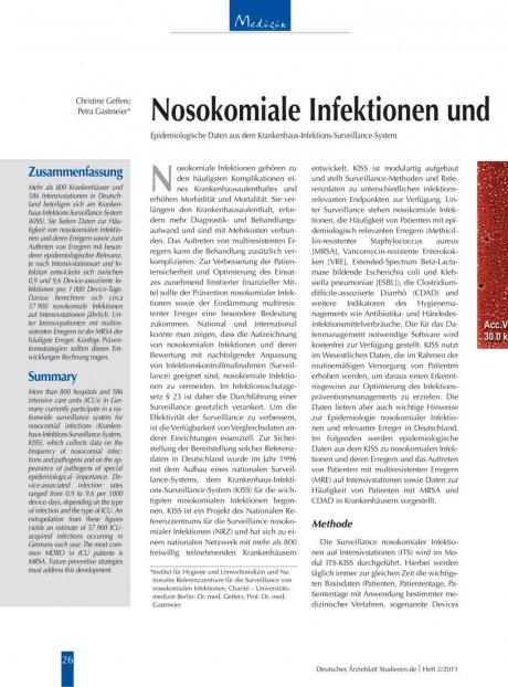 Nosokomiale Infektionen und multiresistente Erreger