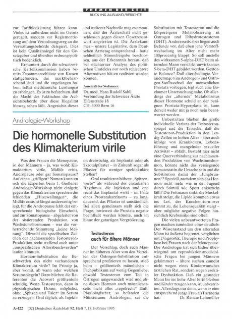 Andrologie-Workshop: Die hormonelle Substitution des Klimakterium virile