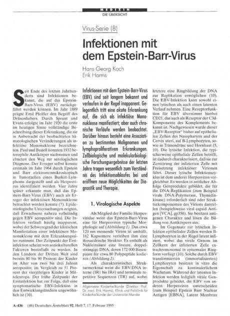 Virus-Serie (8): Infektionen mit dem Epstein-Barr-Virus