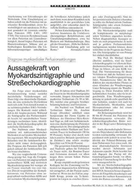 Diagnose myokardialer Perfusionsstörungen: Aussagekraft von Myokardszintigraphie und Streßechokardiographie