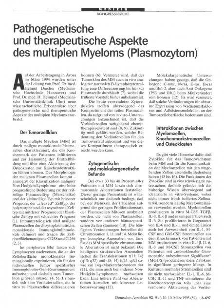 Pathogenetische und therapeutische Aspekte des multiplen Myeloms (Plasmozytom)