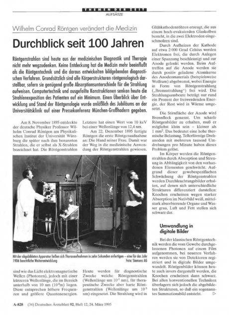 Wilhelm Conrad Röntgen verändert die Medizin: Durchblick seit 100 Jahren