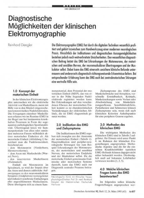 Diagnostische Möglichkeiten der klinischen Elektromyographie