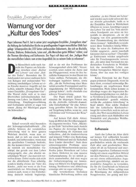 """Enzyklika """"Evangelium vitae"""": Warnung vor der """"Kultur des Todes"""""""