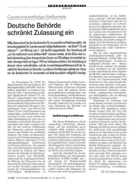 Cyproteronacetat-haltige Medikamente: Deutsche Behörde schränkt Zulassung ein