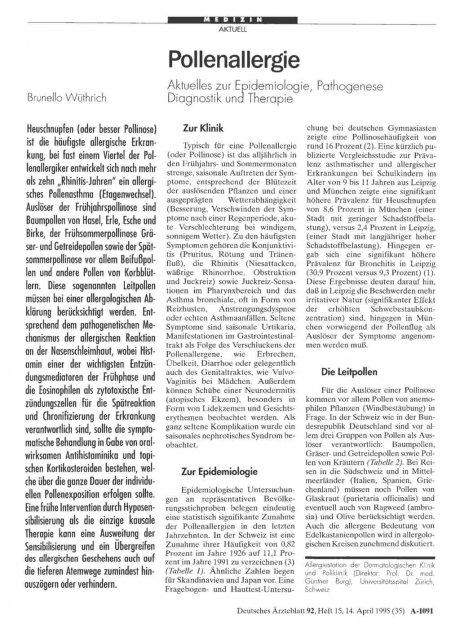 Pollenallergie: Aktuelles zur Epidemiologie, Pathogenese Diagnostik und Therapie