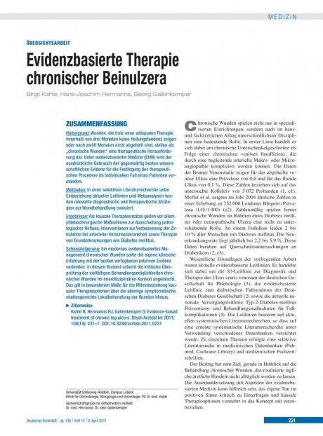 Evidenzbasierte Therapie chronischer Beinulzera