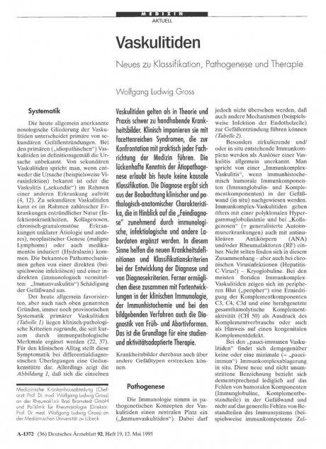 Vaskulitiden: Neues zu Klassifikation, Pathogenese und Therapie