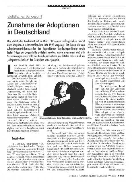 Statistisches Bundesamt: Zunahme der Adoptionen in Deutschland