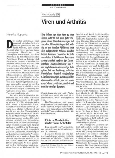 Virus-Serie (9): Viren und Arthritis