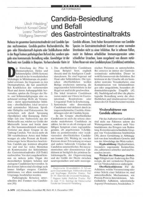 Candida-Besiedlung und Befall des Gastrointestinaltrakts