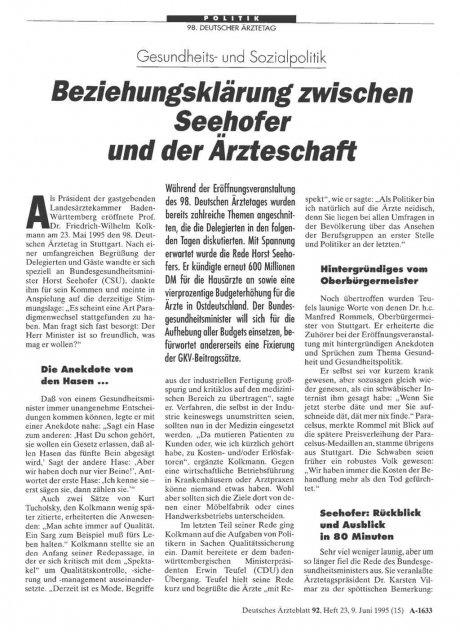 Gesundheits- und Sozialpolitik: Beziehungsklärung zwischen Seehofer und der Ärzteschaft