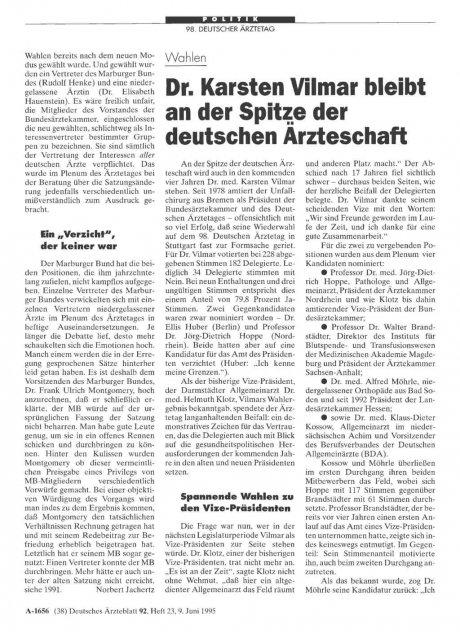Wahlen: Dr. Karsten Vilmar bleibt an der Spitze der deutschen Ärzteschaft