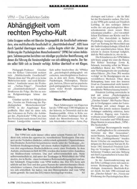 VPM – Die Gelehrten-Sekte: Abhängigkeit vom rechten Psycho-Kult