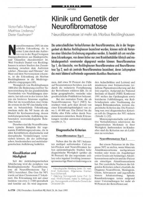 Klinik und Genetik der Neurofibromatose: Neurofibromatose ist mehr als Morbus Recklinghausen