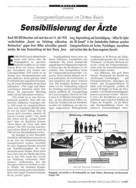 Zwangssterilisationen im Dritten Reich: Sensibilisierung der Ärzte