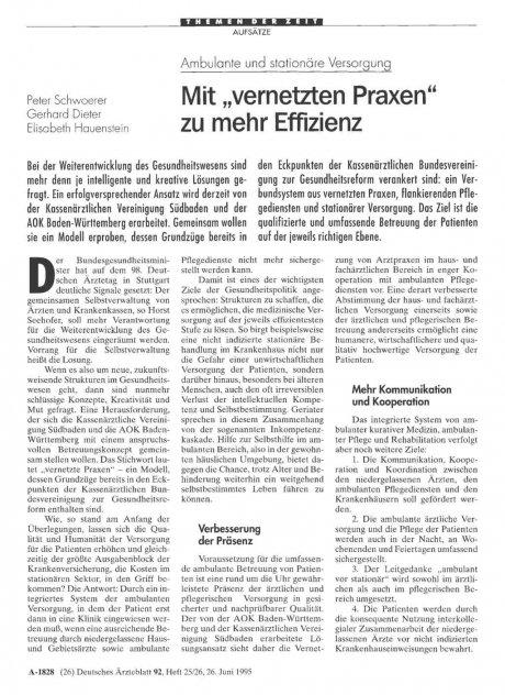 """Ambulante und stationäre Versorgung: Mit """"vernetzten Praxen"""" zu mehr Effizienz"""