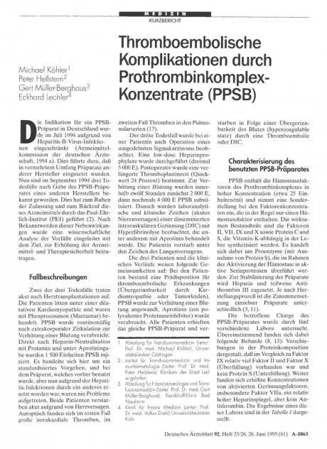 Thromboembolische Komplikationen durch Prothrombinkomplex-Konzentrate (PPSB)