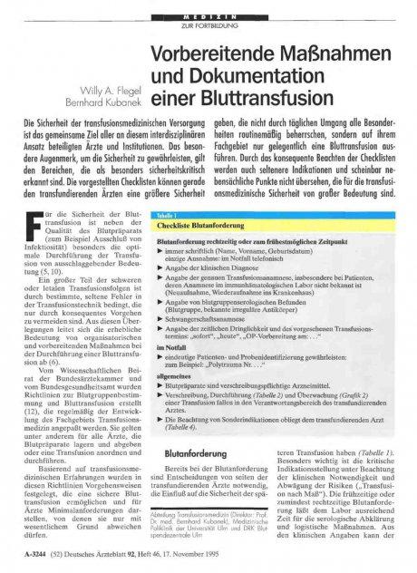 Vorbereitende Maßnahmen und Dokumentation einer Bluttransfusion