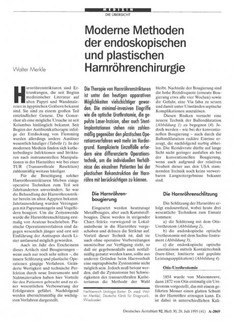 Moderne Methoden der endoskopischen und plastischen Harnröhrenchirurgie