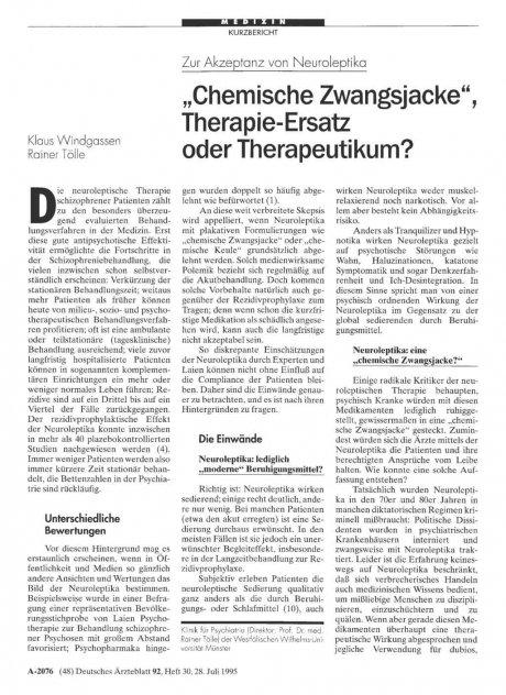 """Zur Akzeptanz von Neuroleptika: """"Chemische Zwangsjacke"""", Therapie-Ersatz oder Therapeutikum?"""