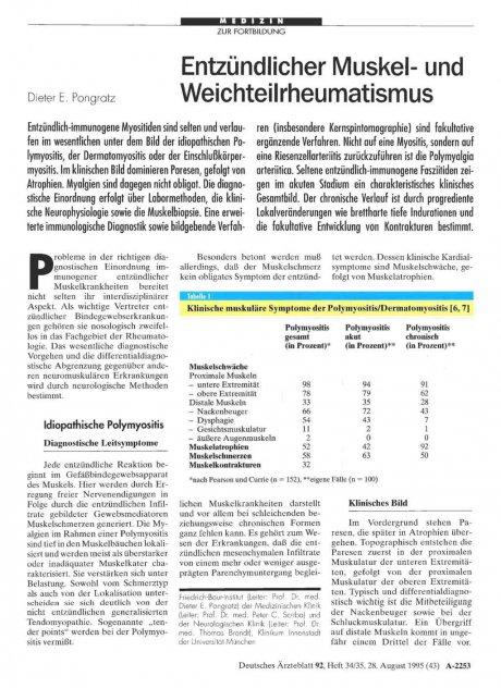 Entzündlicher Muskel- und Weichteilrheumatismus