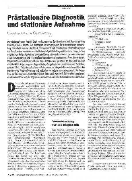 Prästationäre Diagnostik und stationäre Aufnahme