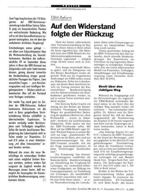 EBM-Reform: Auf den Widerstand folgte der Rückzug