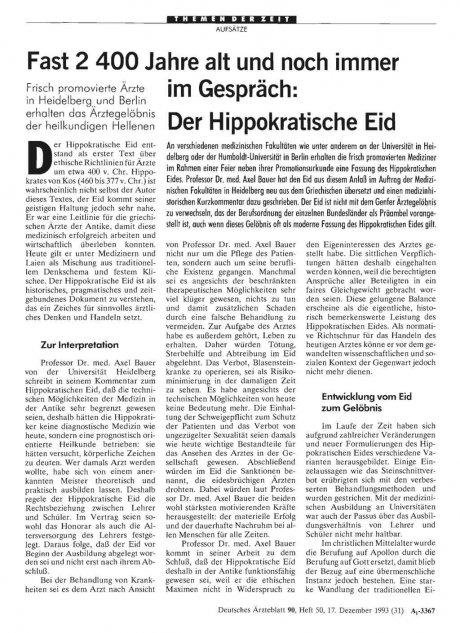 Fast 2 400 Jahre alt und noch immer im Gespräch: Der Hippokratische Eid