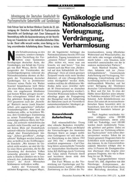 Gynäkologie und Nationalsozialismus: Verleugnung, Verdrängung, Verharmlosung
