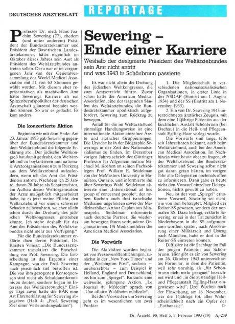 Sewering - Ende einer Karriere: Weshalb der designierte Präsident des Weltärztebundes sein Amt nicht antritt und was 1943 in Schönbrunn passierte