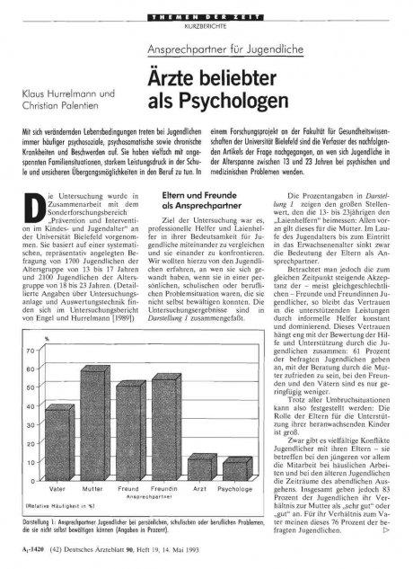 Ansprechpartner für Jugendliche: Ärzte beliebter als Psychologen